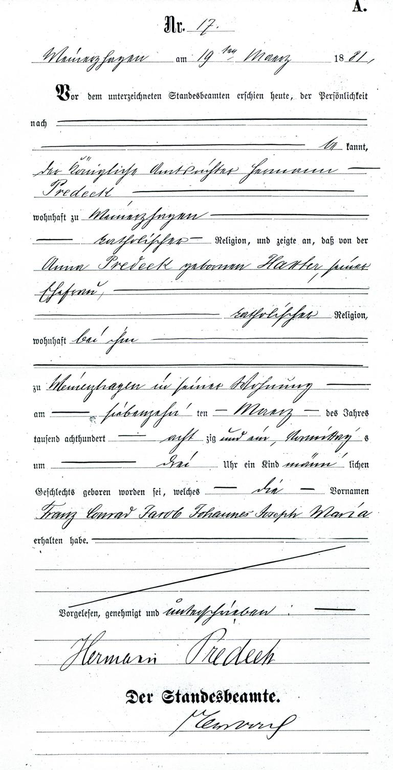 Meinerzhagen Stadtarchiv Geburtsurkunde Franz Predeek, 1881