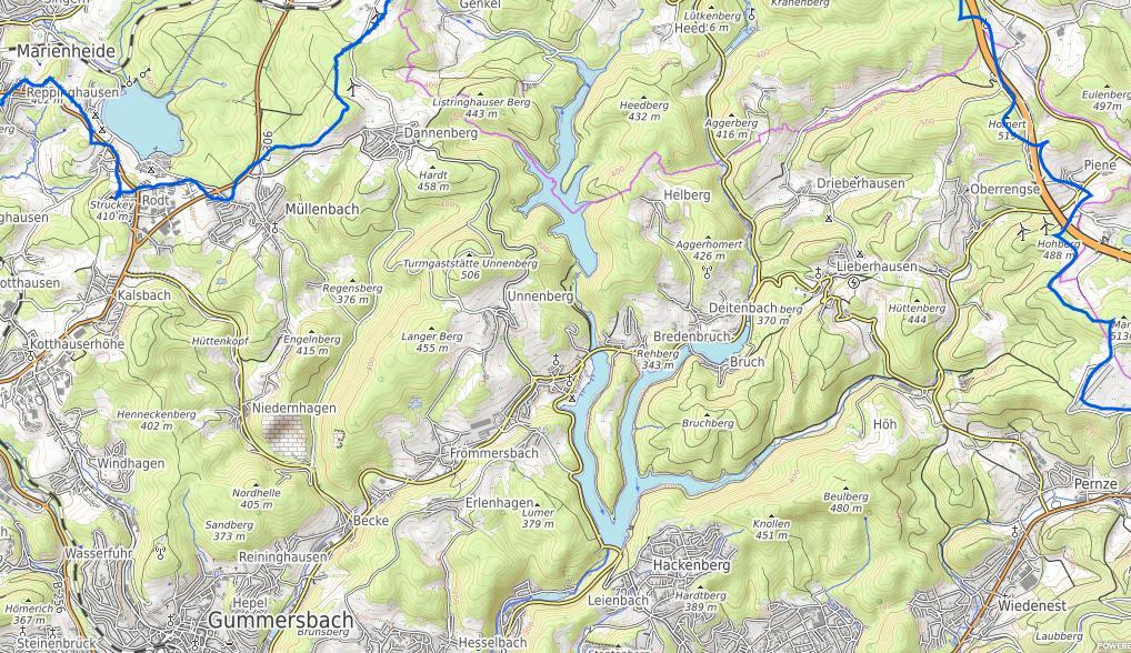 Genkel- und Aggertalsperre auf einer OSM Karte des Aggerverbands