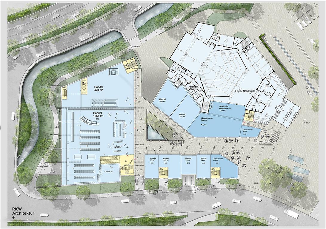 """Grundriss Erdgeschoss, neue Stadthalle, Meinerzhagen © """"RKW Architektur +"""""""