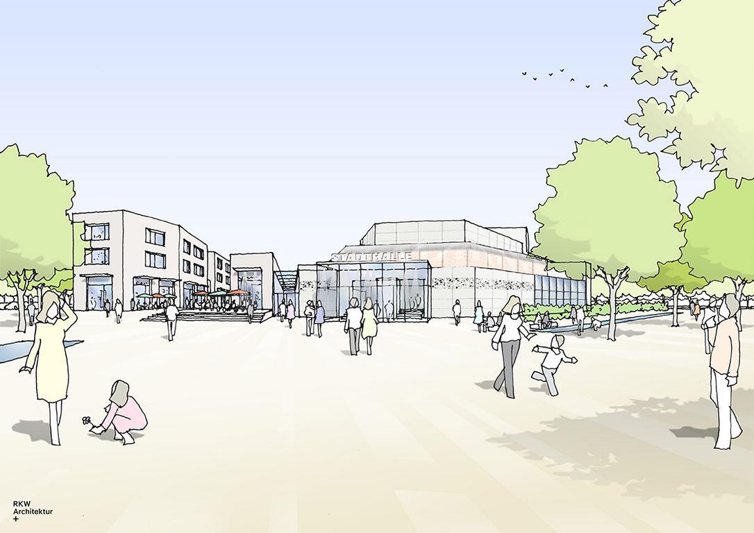 """Skizze des neuen Stadthallenareals Meinerzhagen © """"RKW Architektur +"""